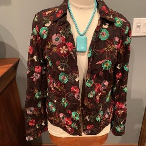 🔥Johnny Was 100% cotton silk embroidered blazer L